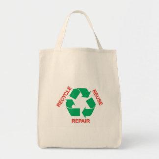 """""""Recycle, Reuse, Repair"""" Organic Grocery Tote Bag"""