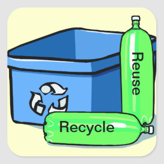 Recycle Reuse Square Sticker