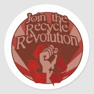 Recycle Revolution Classic Round Sticker