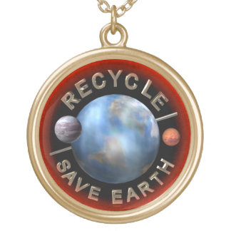 Recycle Save Earth gold  necklace by Valxart