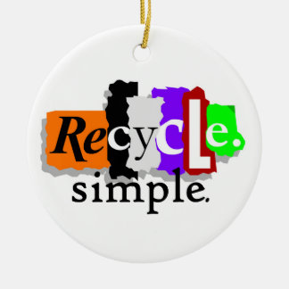 Recycle.simple. T-shirts and Gifts Double-Sided Ceramic Round Christmas Ornament