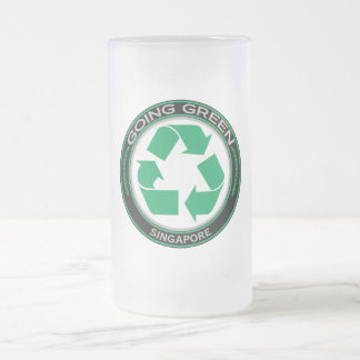 Recycle Singapore 16 Oz Frosted Glass Beer Mug