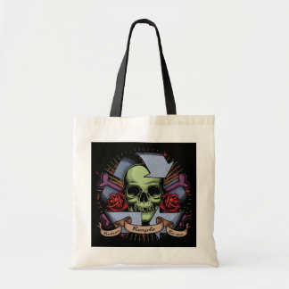 Recycle Skull w/Roses Canvas Bags