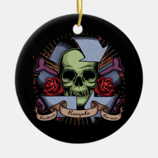 Recycle Skull w/Roses Ceramic Ornament