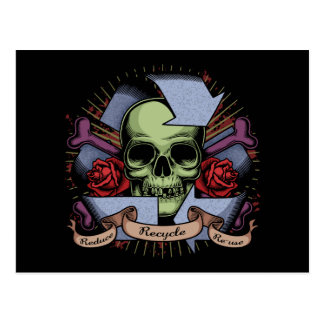 Recycle Skull w/Roses Postcard