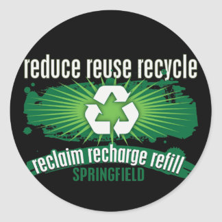 Recycle Springfield Classic Round Sticker