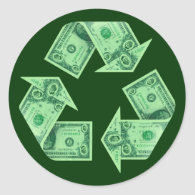 Recycle $ sticker