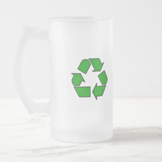 Recycle Symbol 16 Oz Frosted Glass Beer Mug