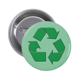 RECYCLE SYMBOL 2 INCH ROUND BUTTON