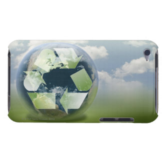 Recycle symbol and planet Earth iPod Touch Cover