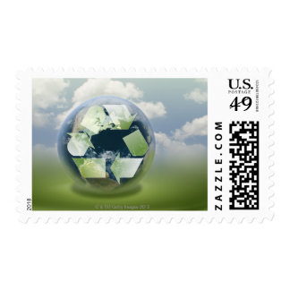 Recycle symbol and planet Earth Postage