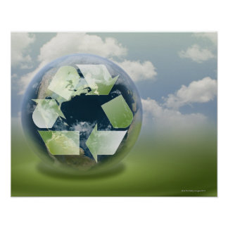 Recycle symbol and planet Earth Poster