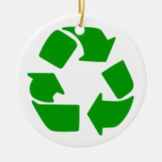 Recycle Symbol Ceramic Ornament