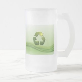 Recycle Symbol Frosted Magnet 16 Oz Frosted Glass Beer Mug