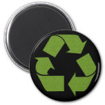 Recycle Symbol Grass 2 Inch Round Magnet