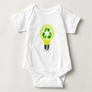 Recycle symbol in a bulb baby bodysuit