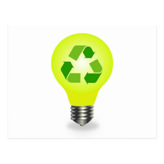 Recycle symbol in a bulb postcard