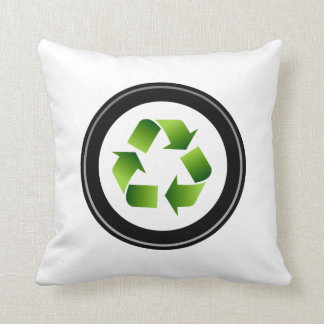 recycle symbol in black circle.png throw pillow