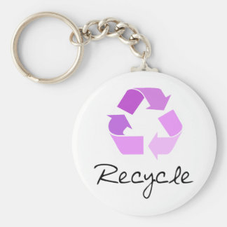 Recycle symbol! lilac design! keychain