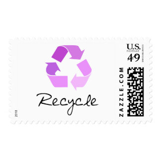 Recycle symbol! lilac design! postage