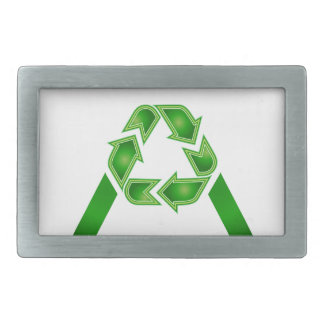Recycle symbol made like letter A Belt Buckles