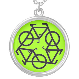 Recycle symbol silver plated necklace