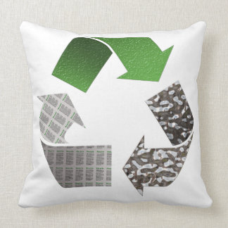 Recycle Symbol Throw Pillow