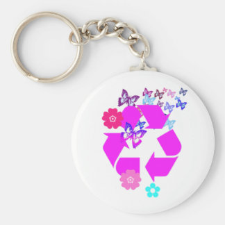 Recycle Symbol with Butterflies and Flowers Basic Round Button Keychain