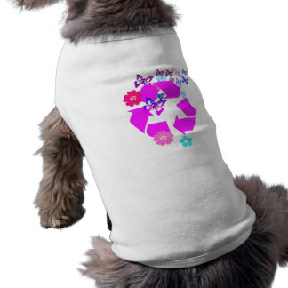 Recycle Symbol with Butterflies and Flowers Doggie T-shirt