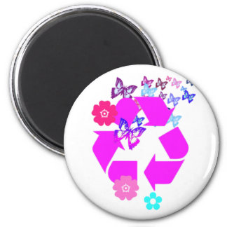 Recycle Symbol with Butterflies and Flowers Magnet
