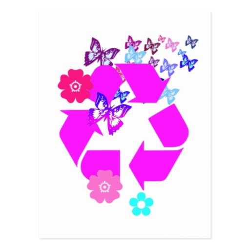 Recycle Symbol with Butterflies and Flowers Postcard