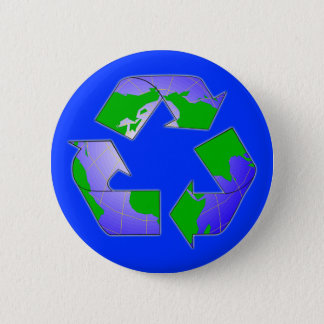 Recycle Symbol with Earth Button