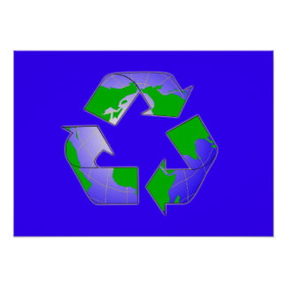 Recycle Symbol with Earth Poster