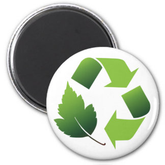 RECYCLE SYMBOL WITH LEAF FRIDGE MAGNETS
