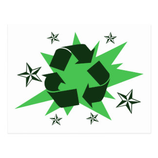 Recycle Symbol with Stars Postcard