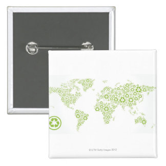 Recycle symbols used to create the planet pinback button