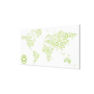 Recycle symbols used to create the planet stretched canvas prints
