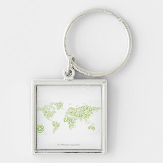 Recycle symbols used to create the planet keychain