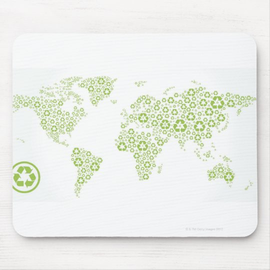 Recycle symbols used to create the planet mouse pad