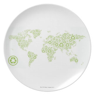Recycle symbols used to create the planet plate