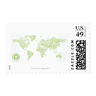 Recycle symbols used to create the planet postage