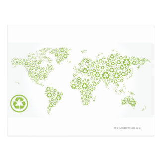 Recycle symbols used to create the planet postcard