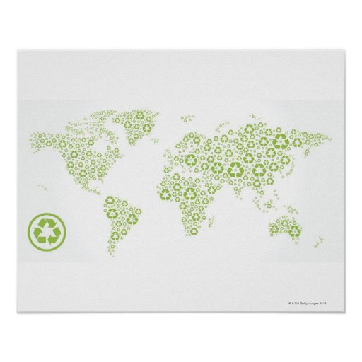 Recycle symbols used to create the planet posters