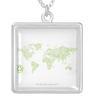 Recycle symbols used to create the planet silver plated necklace