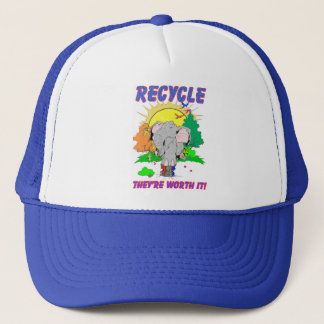 "Recycle ""they're worth it"" trucker hat"