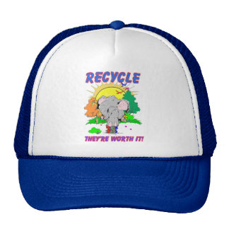 """Recycle """"they're worth it"""" trucker hat"""