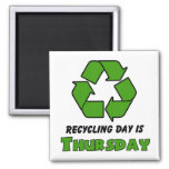 Recycle Thursday 2 Inch Square Magnet