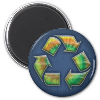 Recycle - Tie-Dye 2 Inch Round Magnet