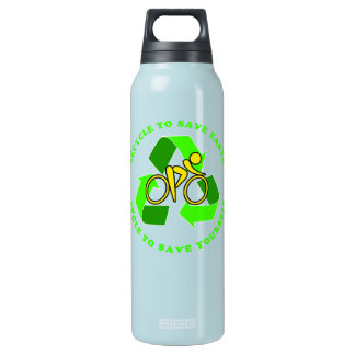 Recycle To Save Earth, Cycle To Save Yourself Insulated Water Bottle