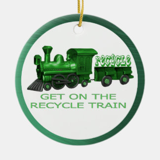 RECYCLE TRAIN-ORNAMENT CERAMIC ORNAMENT
